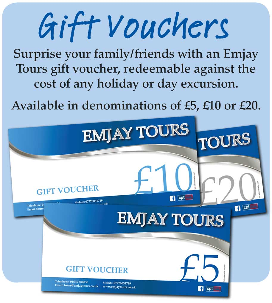 Emjay Tours Gift vouchers available to use on holidays, mini breaks, day trips, london theatre breaks and more